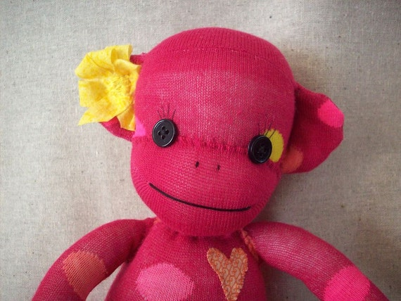 Sock monkey stuffed plush toy in pink with polka dots, sock monkey doll, stuffed toy monkey