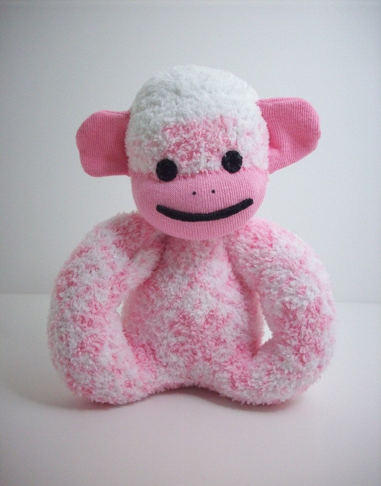 Baby Safe Sock Monkey in Pink and White