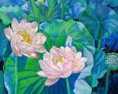 Frame Matted 8 x 10 Prints from Original Lotus Flower Painting,  Holiday gift