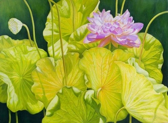 Dance with Wind 36x48   Original Oil Painting of Lotus Flower, Holiday gift