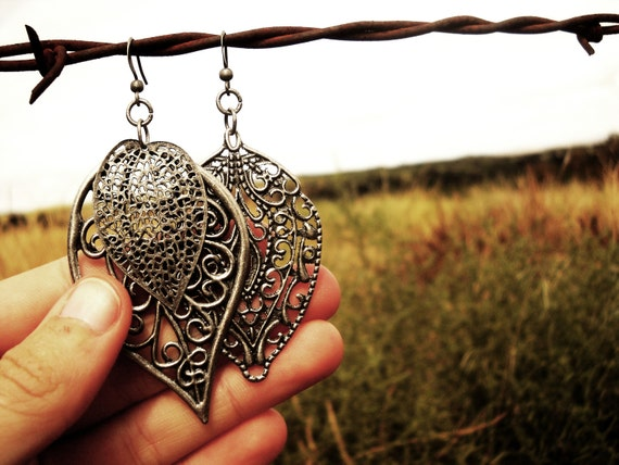 Metal Asymetrical Leaf Earrings