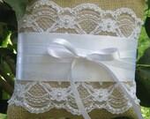 Burlap and Beaded Lace Ring Bearer Pillow
