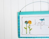 teal easter whimsical embroidery home decor hanging spring bluebird illustration, fabric yo yos, gift for her, under 35