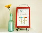 friend quote stitched illustration, orange, spring garden, wall hanging