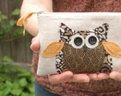 owl purse, personalized zipper pouch, gift for her, under 30, READY TO SHIP by mamableudesigns