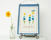 nursery decor, floral, decorative word art, laughter, blue and yellow READY TO SHIP by mamableudesigns