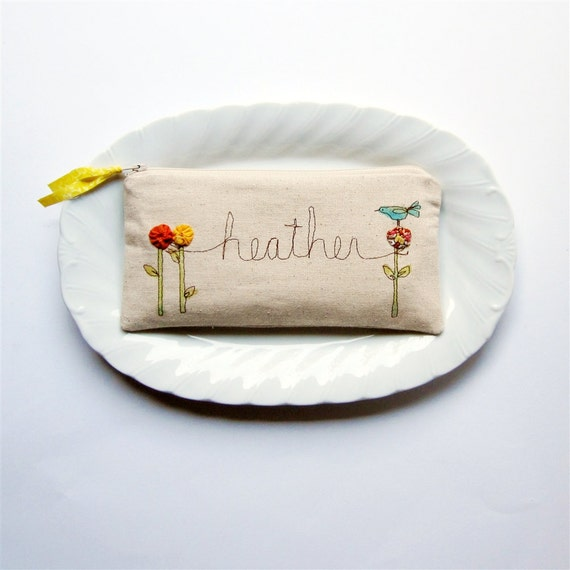 whimsical personalized clutch bag pouch bird garden original custom made in your color choices, lovely statement gift unique gift under 30