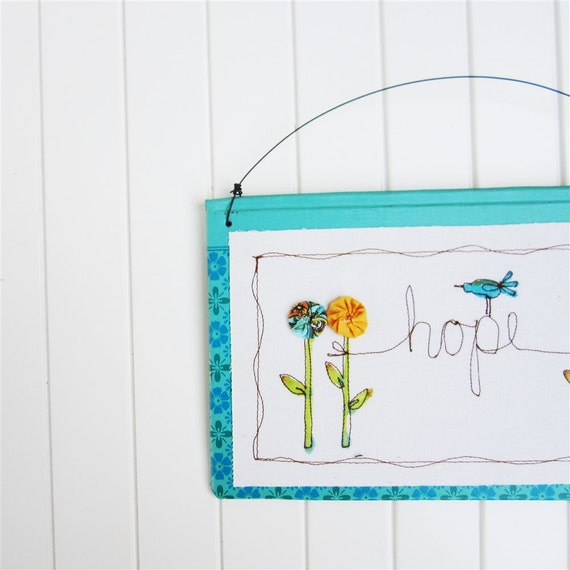 Teal easter whimsical embroidery home decor hanging spring for Whimsical decorations home