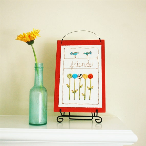 friend quote stitched illustration, orange, spring garden, wall hanging