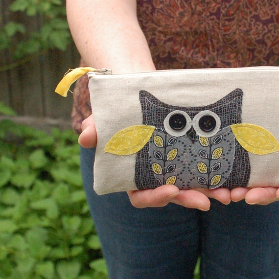 black and yellow owl pouch, autumn bag, children, halloween pencil bag, zipper pouch, READY TO SHIP by mamableudesigns