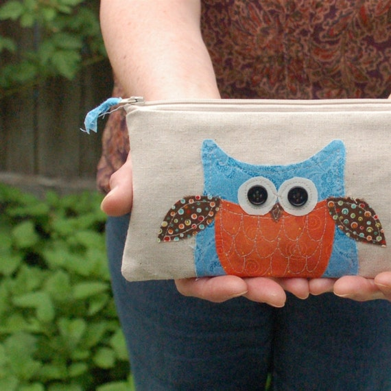 owl purse, woodland bird pouch, READY to SHIP orange, blue, brown, by mamableudesigns
