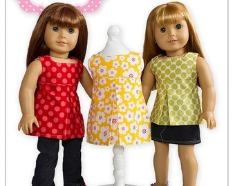 "PDF Sewing Pattern for 18"" American Girl Doll Clothes - Pleated Sundress, Tunic or Top ePattern"