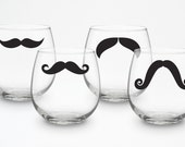 Stemless Wine Glasses - variety of styles and colors - set of 4