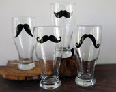 Classic Mustache Pilsner Glasses - Set of 4