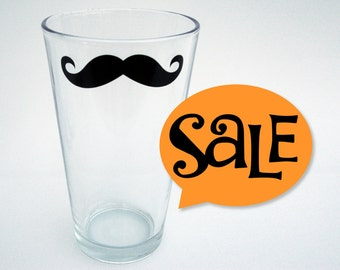 As Seen in DRAFT Magazine - Moustache Pint Glasses - Ready to Ship - (set of 4)