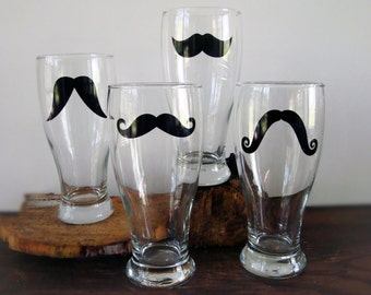 Classic Mustache Pilsner Glasses - Set of 4 - personalization