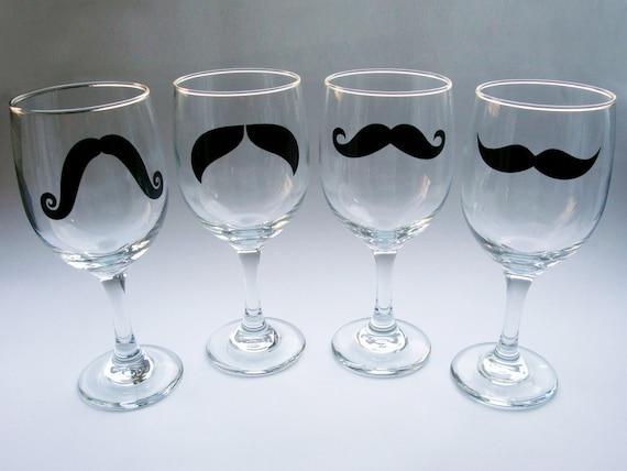 Mustache Wine Glasses - set of 4