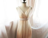 Goddess Soft French Creamy Apricot Romance Dreamy Old World Charm Flowy Angel Marie Antoinette Empire Chiffon Dress / Gown