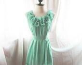 Romantic Minty Green Rose Angelic Rosette Dress Heavenly Secret Garden Alice in the Wonderland Tea Party Chiffon Ruffled Hem Dress