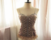 Cocoa Chocolate Temptress Burlesque Velvet Angel Old World Charm Lace Marie Antoinette Inspired Boudoir Whimsical Sexy Dress y Corset