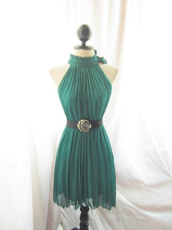 Forest Green Pleated Secret Garden Dress Vineyard Elves Fairies Havisham Romantic Fall Twilight Classic Autumn Dress