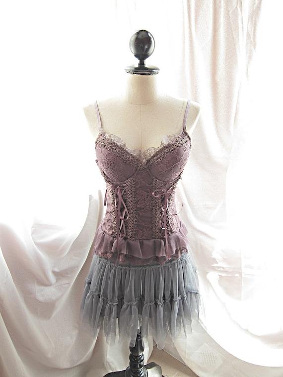 Spring Fairytale Heavenly Misty Earl Gray Whimsical Romantic Ballerina Taffeta Tulle Marie Antoinette Tutu Skirt