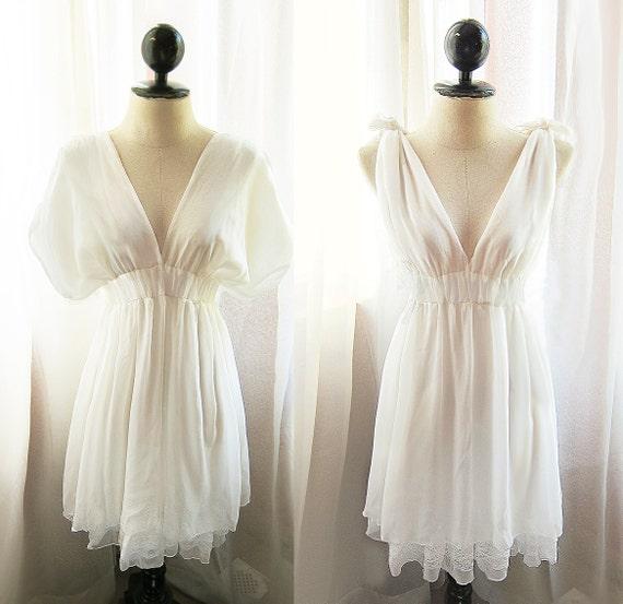 Dreamy White Kimono Grecian Dress Romantic Pale Chantilly Pure Linen Soft Rustic Peaceful Misty Chiffon Lace Hem 2way Dress