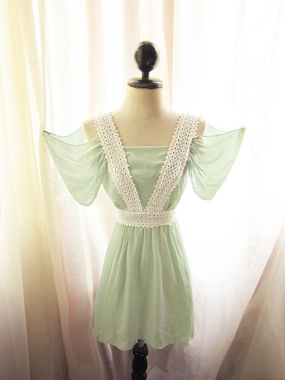Drape Sleeves Egyptian Goddess Soft Veil Vert Absinthe Vineyard Elves Meadow Green Chiffon Dress Old World Flowy Angel Marie Antoinette