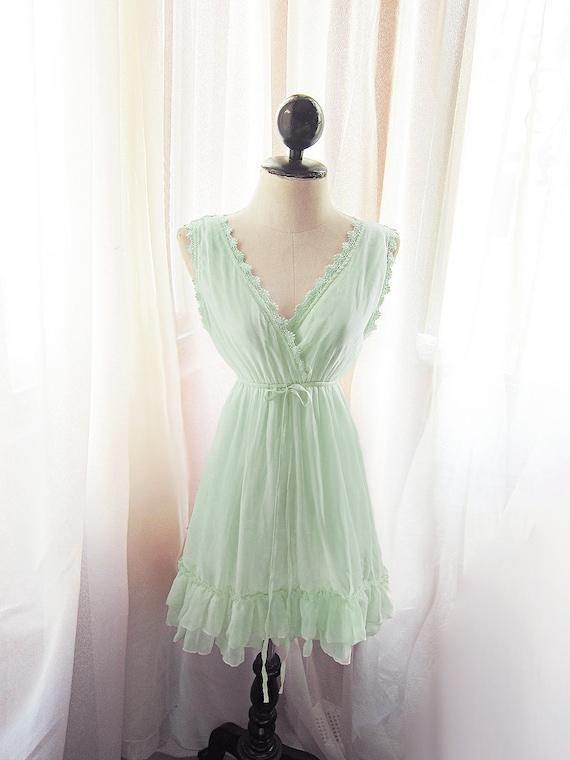 Romantic Meadow Vineyard Green Mint Seafoam Dress Soft Misty Nostalgia Vert Ansinthe Tea Havisham Cutouts Chiffon Long Tunic