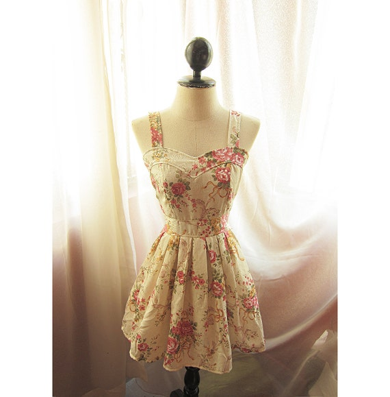 Quaint Romantic Brocade Style Antique Vintage Inspired Creamy Spring Peony Pink Floral Garden Sweetheart Cream Marie Antoinette Dress