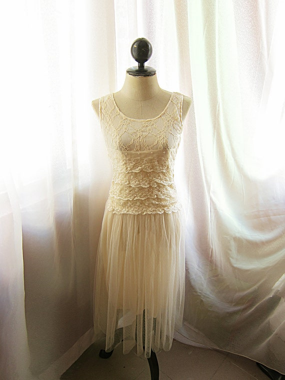 Romantic Victorian Cream Lace Bohemian Dress Chantilly French Dreamy Misty Country Rustic Whimsical Fantasy Jardin Long Dress