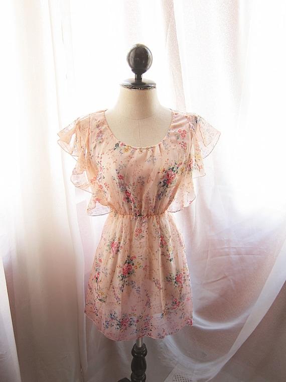 Romantic Vintage Peach Apricot Blush Angel Misty Dreamy Garden Whimsical Petite Floral Soft Chiffon Butterfly Wings Mini Dress Long Tunic