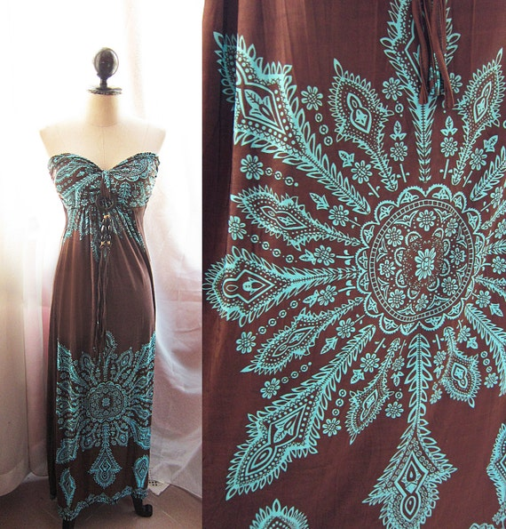 Exotic Turquoise Indie Paisley Wooden Beads Onyx Two Way Maxi Dress Spring Summer Hippie Gypsy Peasant Happy Bohemian Cocoa Brown Long Dress
