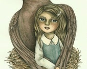 RESERVED FOR LUCIA (Please Do Not Purchase) Original Watercolor Painting - Silent Nurturing (Mother Bird and Her Girl) by Amalia K