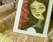 Original ACEO/ATC Vintage Acrylic Painting - Rose (Flower Girl Series) by Amalia K