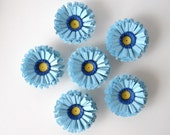 20% OFF - Magnets, Handmade Paper Mini Flowers, Set of Six - Blue, Navy, Yellow, Small, Cute, Pretty, Table Decor, Party Favor, Decoration