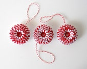 Ornaments, Set of Three Small Paper Flowers - Red, White, Handmade, Hanging, Set, Christmas, Unique, Round, Cute, Little, Unisex, Peppermint