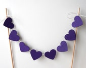 "Cake Bunting, 12"" Purple Hearts - Decoration, Party, Event, Birthday, Dessert, Love, 8 Inch Cake, Eight, Paper, White String, Wood Dowels"
