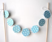 Cake Bunting, 12 Inches of Patterned Spring Circles - Party, Dessert, Paper, Wood Dowels, Flower, Sparkly, Cute, Blue, White, Simple, Sky