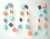 Garland for Spring, 4 ft. - Colorful, Colourful, Pastel, Happy, Square, Simple, Shape, Different, Party Decor, Brighten, Easter, Lovely