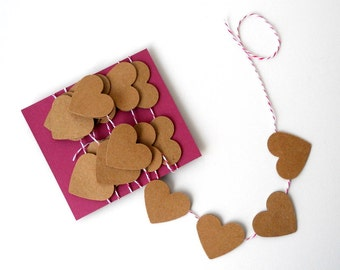 Heart Garland, 4 ft. - Kraft Paper, Housewares, Home Decor, Cute, Simple, Brown, Baker's Twine, Small, Cottage, Rustic, Love, Wedding, Hang