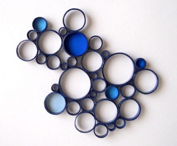 Paper Wall Sculpture Circles Blue Navy Bubbles Round By