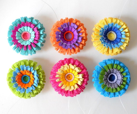Hanging Paper Flowers, Set of Six - Bright, Colorful, Red, Orange, Yellow, Green, Blue, Purple, Pink, Teal, Turquoise, Mix and Match