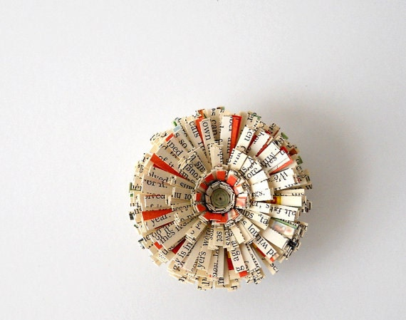 Magnet, Vintage Paper, Handmade Flower - 3D, Cute, Unique, Writing, Text, Antique, Paper, Round