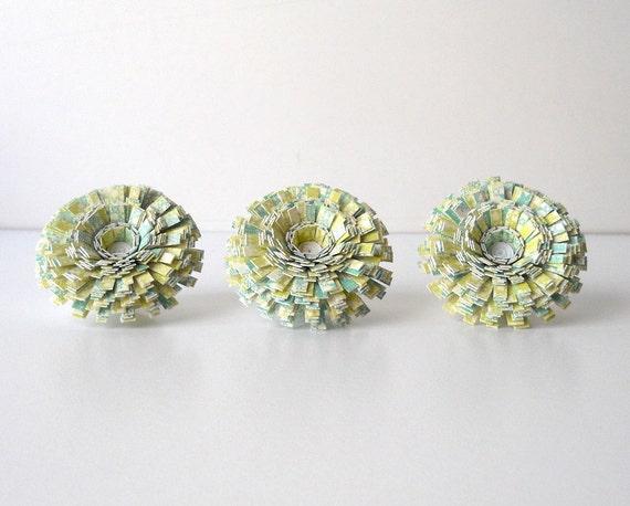 Push Pins, Handmade Paper Flowers, Set of Three - Tack, Thumbtack, Thumb, Turquoise, Green, Yellow, White, Pretty, Pattern, Teal