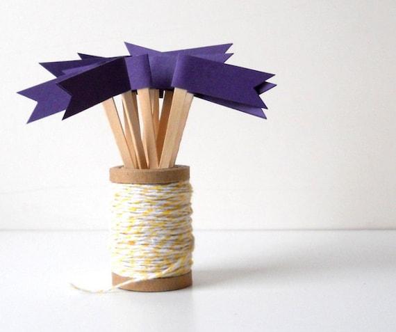 Cupcake Toppers, 12 Purple Flags - Decor, Party, Birthday, Dessert, Paper, Cute, Wedding, Wooden Picks, Violet, Dark Purple