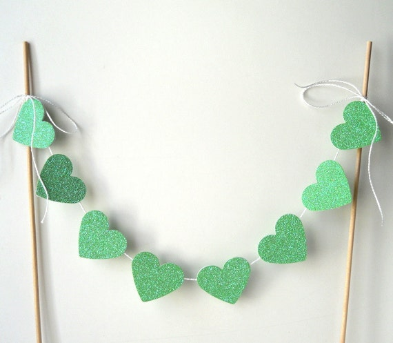 Cake Decor Hearts : Cake Bunting 12 of Glittery Green Hearts Decor Party by ColorMill