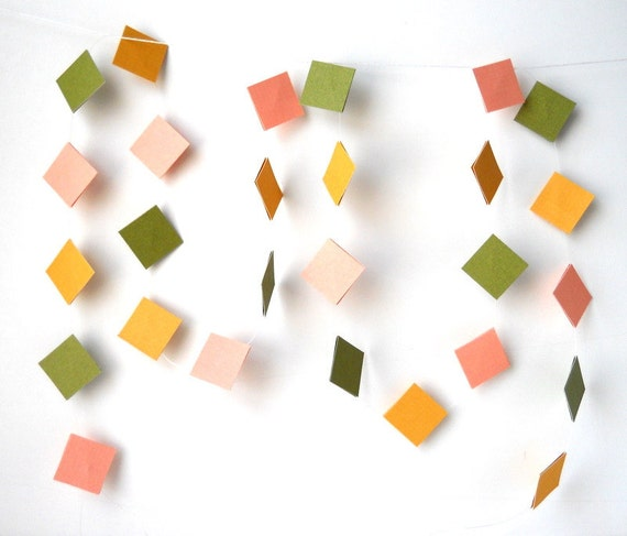 Garland for Spring, 4 ft. - Colorful, Colourful, Bright, Happy, Square, Simple, Shapes, Different, Party Decor, Brighten, Easter, Lovely