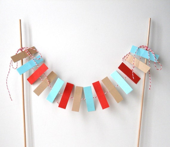 Cake Bunting, 12 Inches, Colorful Rectangles - Decoration, Party, Event, Birthday, Dessert, 8 Inch Cake, Paper, Wedding, Wood Dowels, Retro