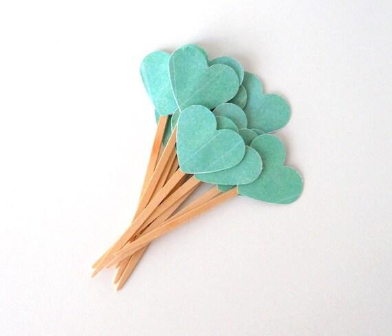 Cupcake Toppers, 12 Sea Foam Hearts - Teal, Turquoise, Mint, Blue Green, Wooden Picks, Wood, Seafoam, Green, Mist, Aqua, Marine, Sea